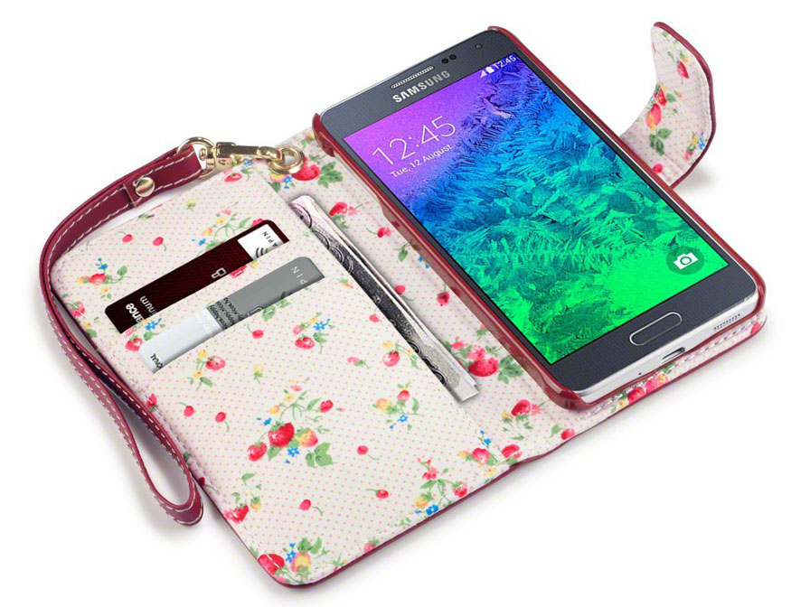 CaseBoutique Flower Wallet Case - Samsung Galaxy Alpha Hoesje