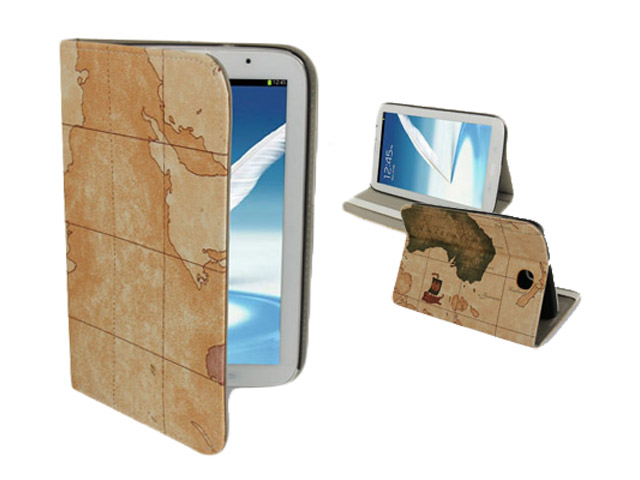 Antique World Stand Case Hoes Cover voor Samsung Galaxy Note 8.0