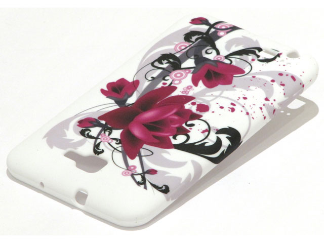 Flower Design TPU Case Hoes voor Samsung Galaxy Note (N7000)
