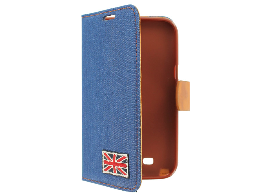 British Denim Style Wallet Case Hoesje voor Samsung Galaxy Note 2