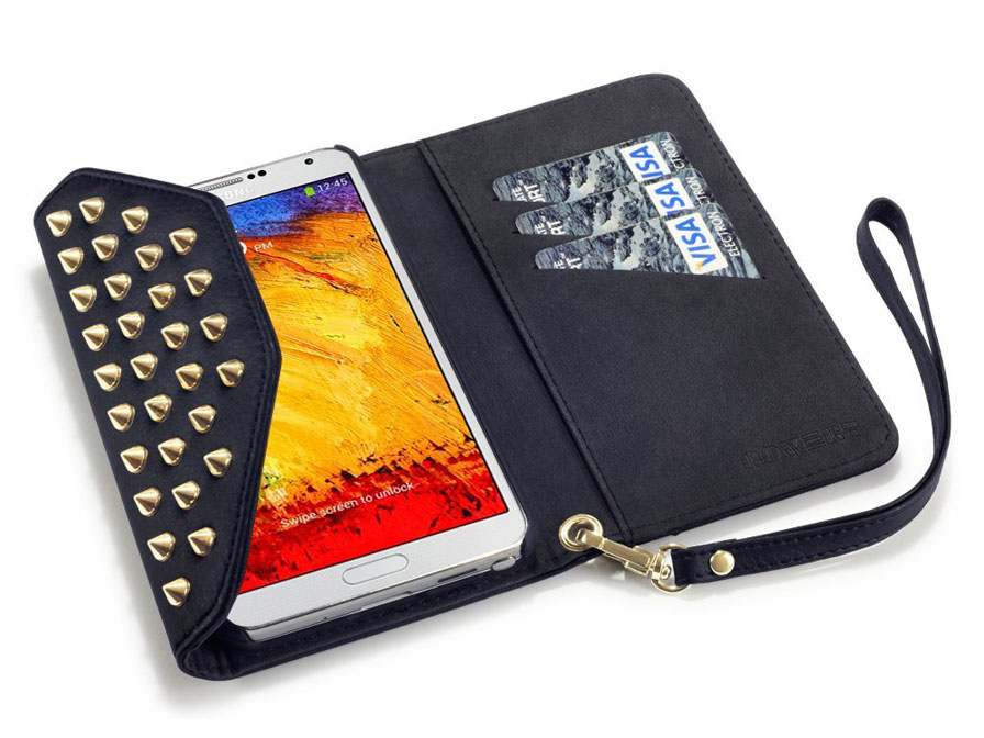 Covert Studded Trifold Wallet Case - Samsung Galaxy Note 3 Hoesje