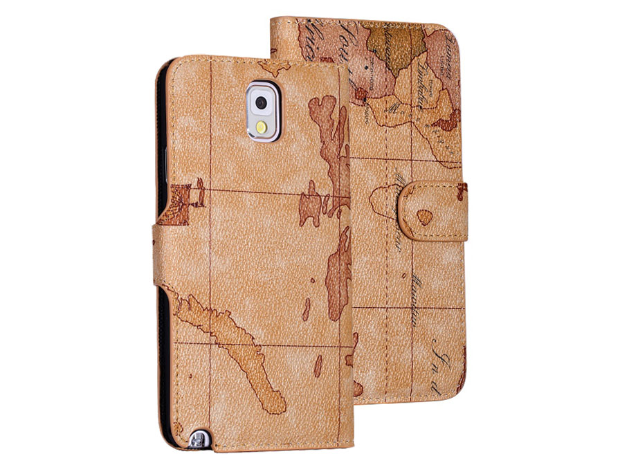 Antique Worldmap Wallet Hoesje voor Samsung Galaxy Note 3
