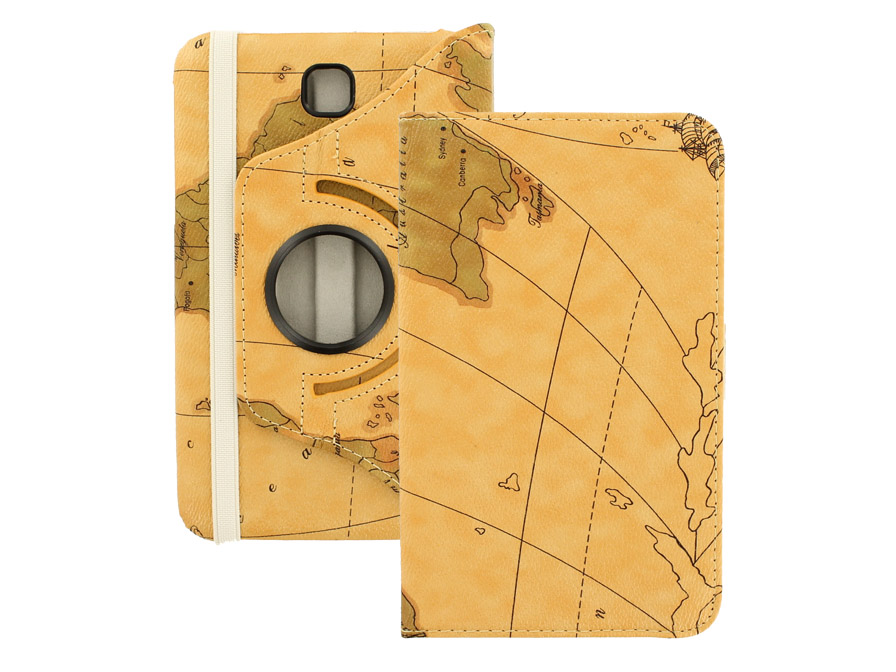 Antique Worldmap Swivel Stand Case voor Samsung Galaxy Tab 3 (7.0)