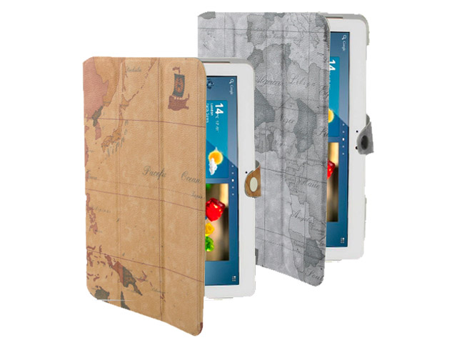Antique World Stand Case Hoes Cover voor Samsung Galaxy Tab 2 10.1