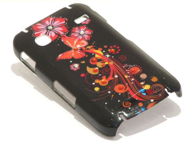 Crystals Black Butterflies Case Samsung Galaxy Gio S5660
