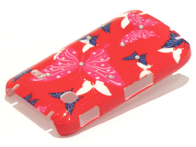 Crystals Red Butterflies Case Samsung Galaxy Gio S5660