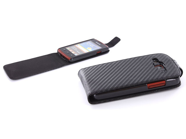 Carbon Flip Case - Samsung Galaxy Xcover S5690 Hoesje