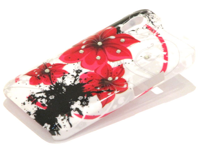Crystals Red Flowers Case Samsung Galaxy Ace S5830
