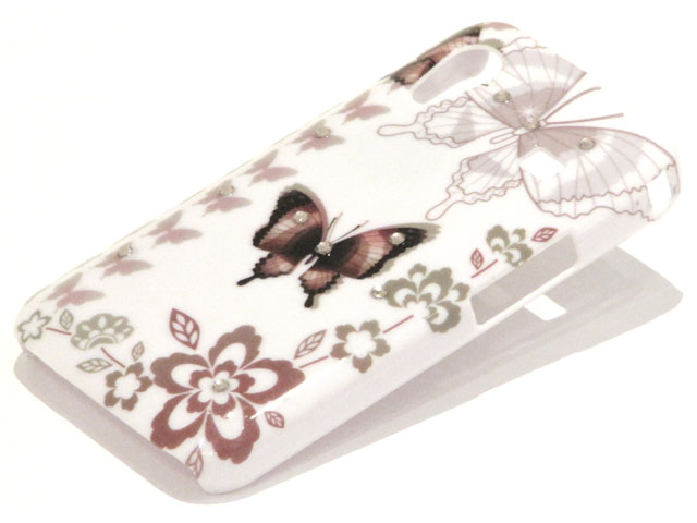 Crystals Sepia Butterflies Case Samsung Galaxy Ace S5830