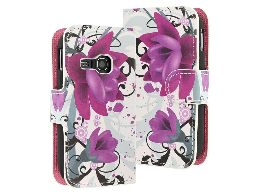 Big Flower Wallet Case voor Samsung Galaxy Young (S6310)