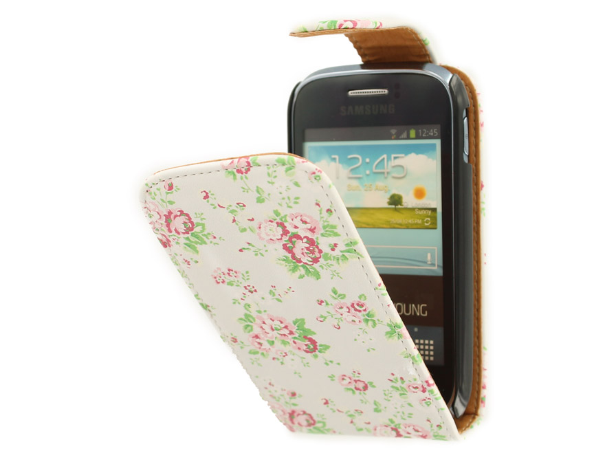 Flower Flip Case voor Samsung Galaxy Young (S6310)