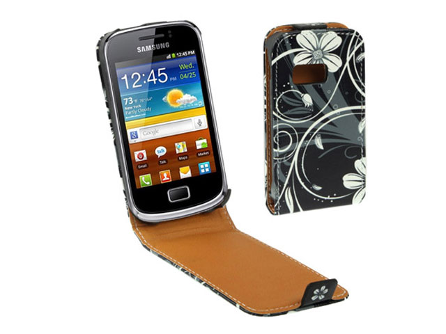 Black Flowers Kunstleren Flip Case voor Samsung Galaxy Mini 2 (S6500)
