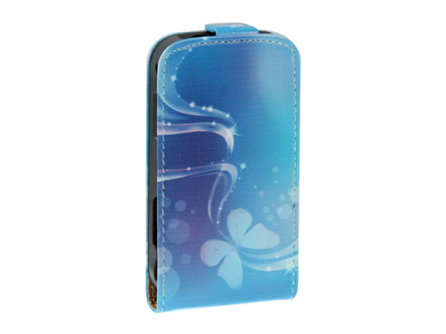 Blue Butterflies Kunstleren Flip Case Samsung Galaxy Mini 2 (S6500)