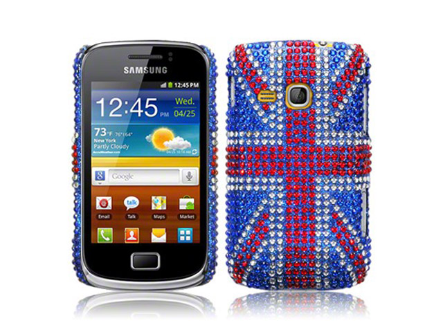 Covert Diamante GB Flag Case Hoesje voor Samsung Galaxy Mini 2 (S6500)