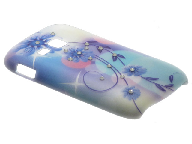 Crystals ''Pastel Flowers'' Case Hoesje Samsung Galaxy Mini 2 (S6500)
