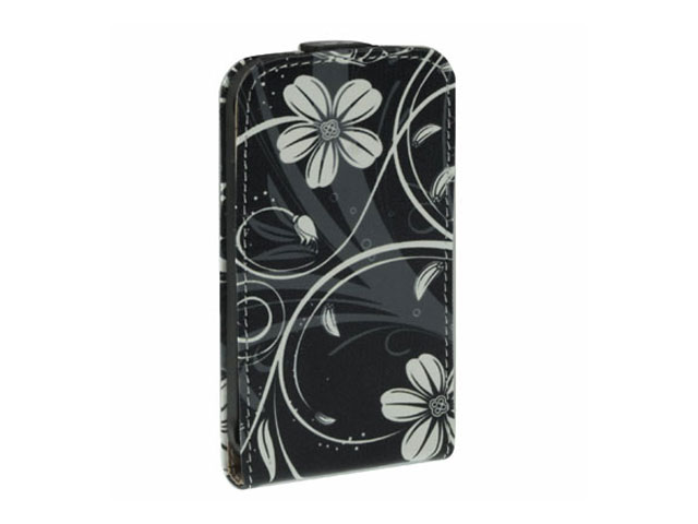 Black Flowers Kunstleren Flip Case Samsung Galaxy Ace Plus (S7500)