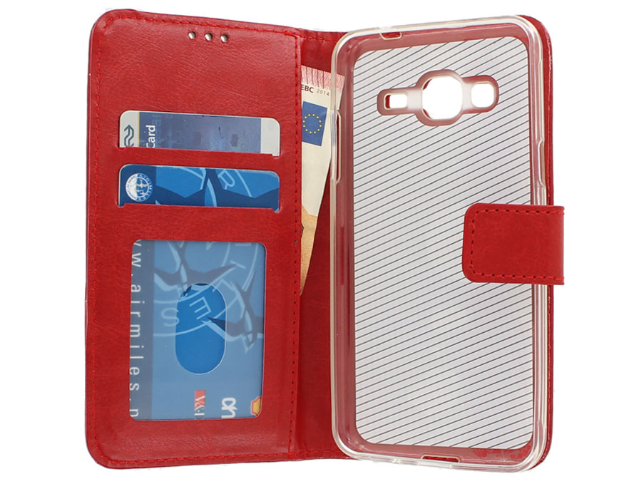 Bookcase Rood - Samsung Galaxy J3 2016 hoesje