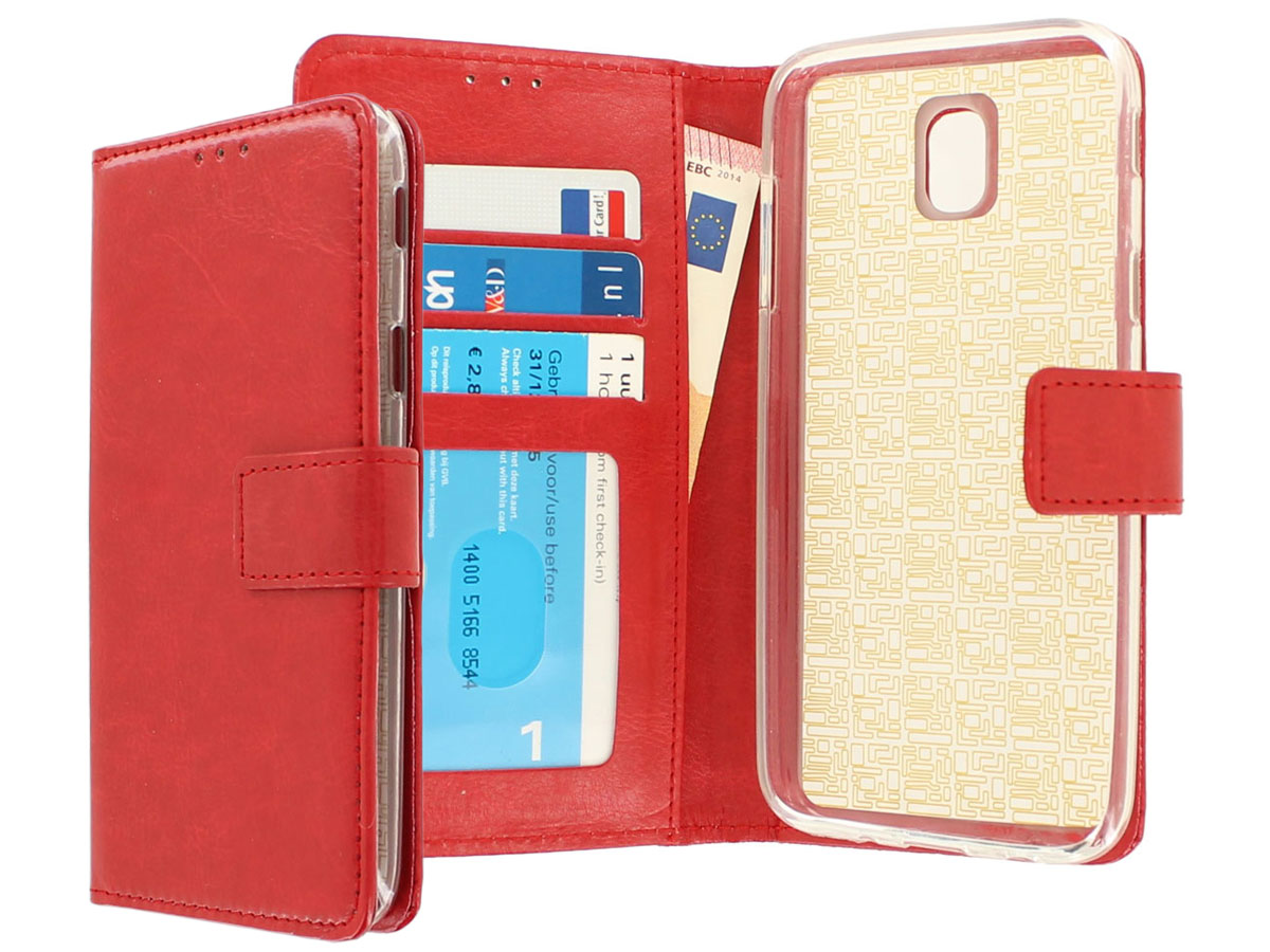 Bookcase Rood - Samsung Galaxy J7 2017 hoesje