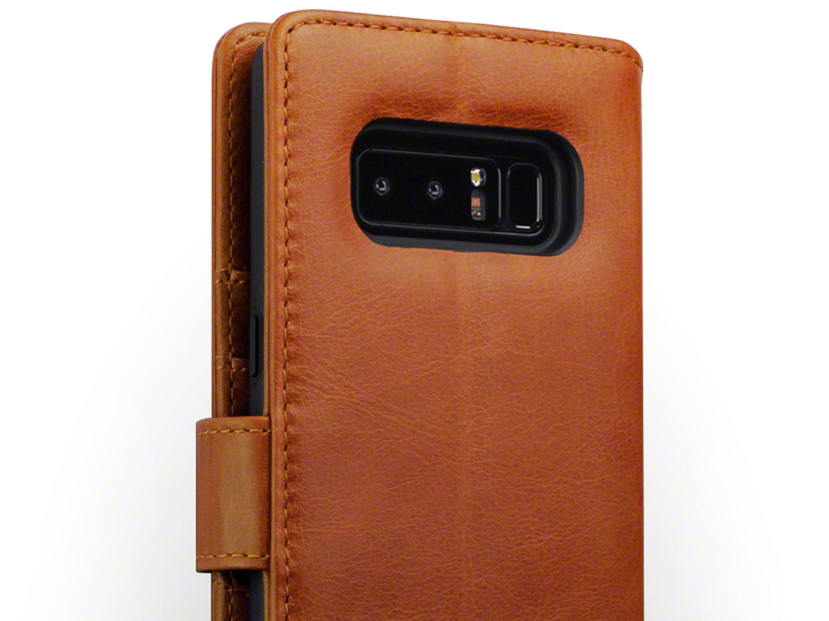 CaseBoutique Bookcase Cognac Leer - Galaxy Note 8 hoesje