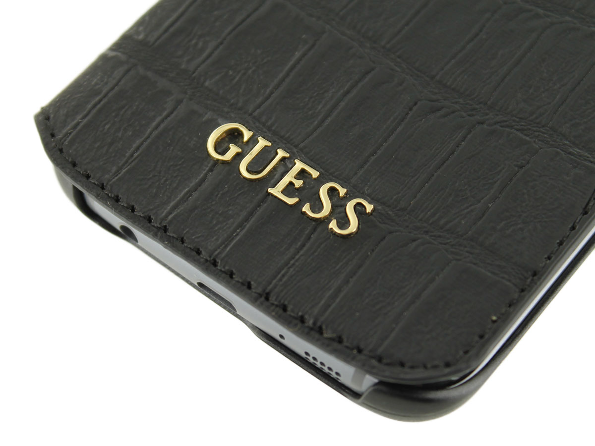 Guess Black Croco Folio - Samsung Galaxy S7 Edge hoesje