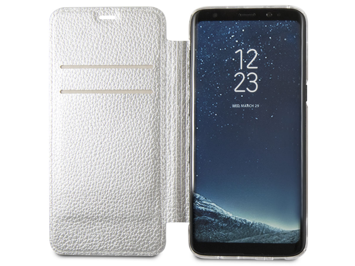 Guess Iridescent Bookcase Zilver - Galaxy S8+ hoesje
