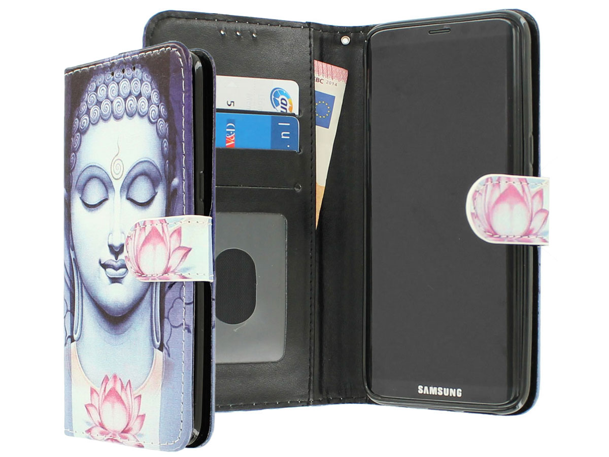 Boeddha Liliy Bookcase - Samsung Galaxy S8+ hoesje Blauw