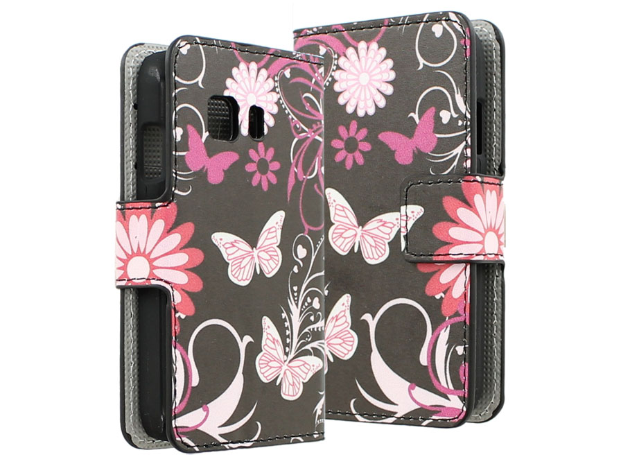 Butterfly Flowers Wallet Case - Samsung Galaxy Young 2 hoesje