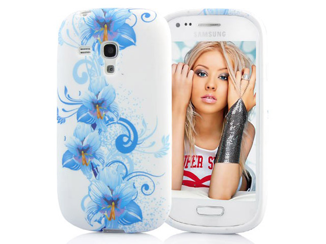 Blue Flowers TPU Soft Case Hoesje voor Samsung Galaxy S3 Mini (i8190)