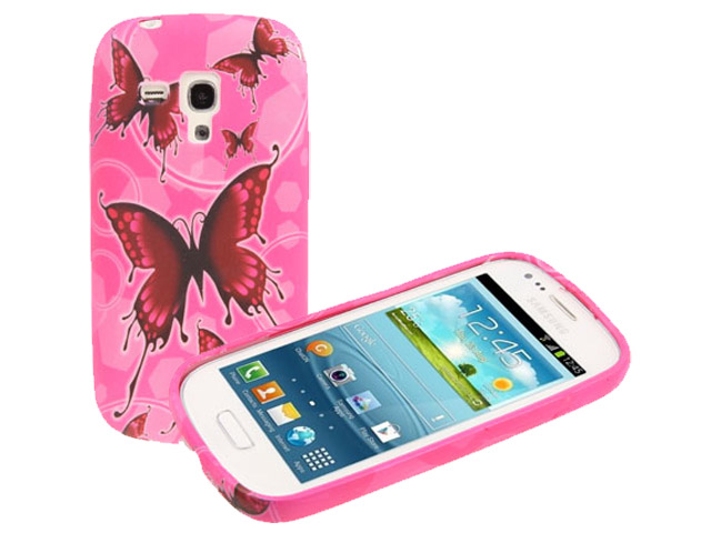 Dashing Pink Butterflies Case Hoesje Samsung Galaxy S3 Mini