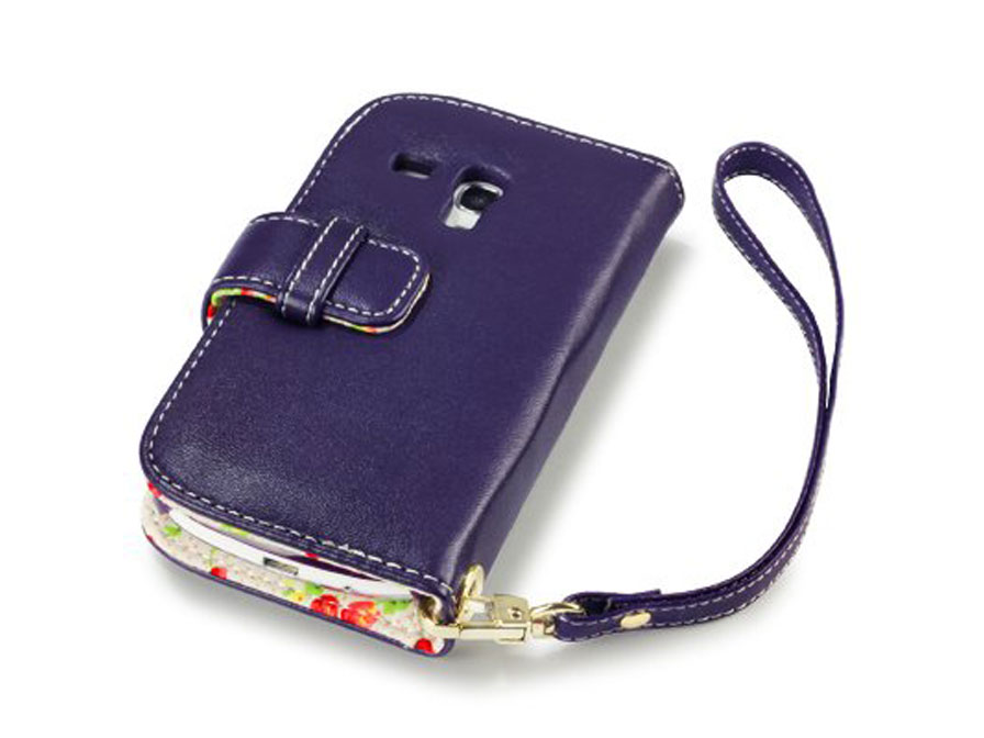 CaseBoutique Flower Wallet Case - Samsung Galaxy S3 Mini hoesje