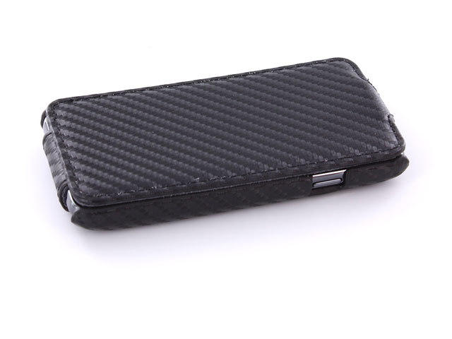 Carbon Slimline Leather Case voor Samsung Galaxy S Advance i9070