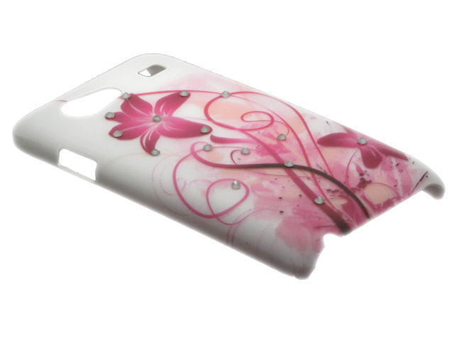 Crystals ''Pink Floral'' Case Samsung Galaxy S Advance (i9070)