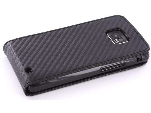 Carbon Leather Flip Case Samsung Galaxy S2 i9100