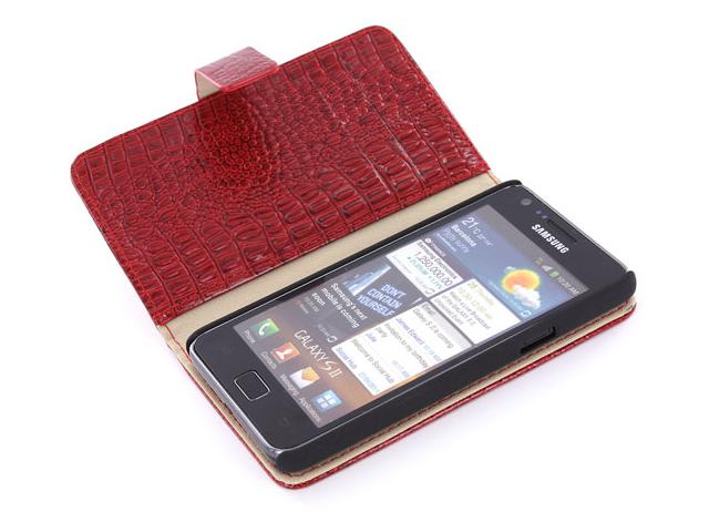Croco Side Flip Case Hoes Samsung Galaxy S2 i9100