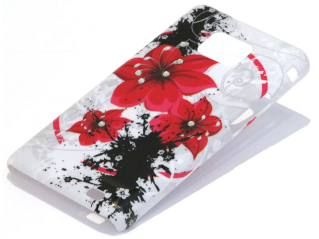 Crystals Red Flowers Case Samsung Galaxy S2 i9100