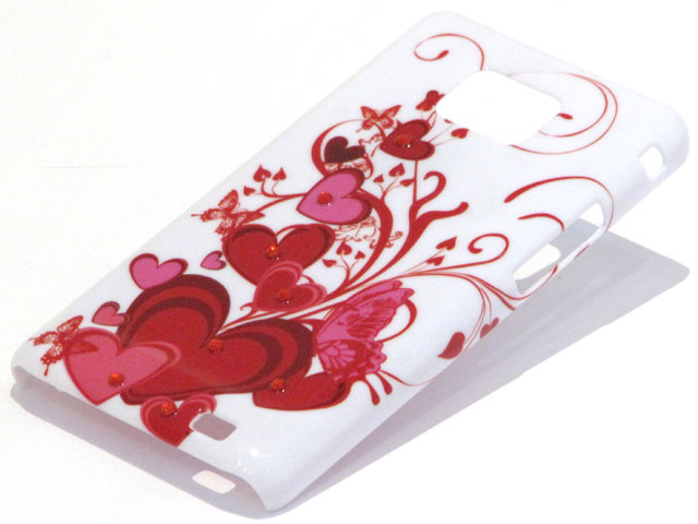 Crystals Red Hearts Case voor Samsung Galaxy S2 i9100