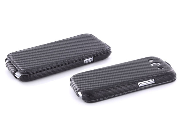 Carbon Slimline Leather Case voor Samsung Galaxy S3 i9300