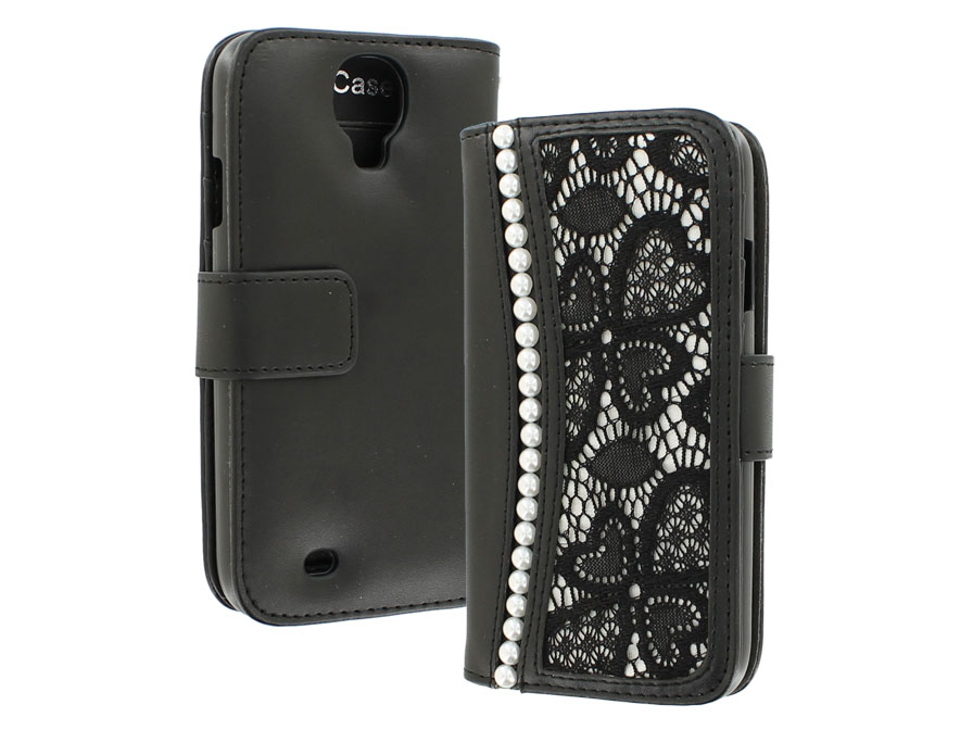 Lace Pearls Wallet Case - Hoesje voor Samsung Galaxy S4