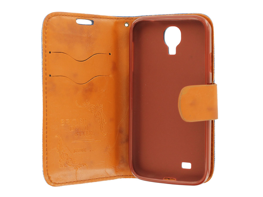 British Denim Style Wallet Case Hoesje voor Samsung Galaxy S4