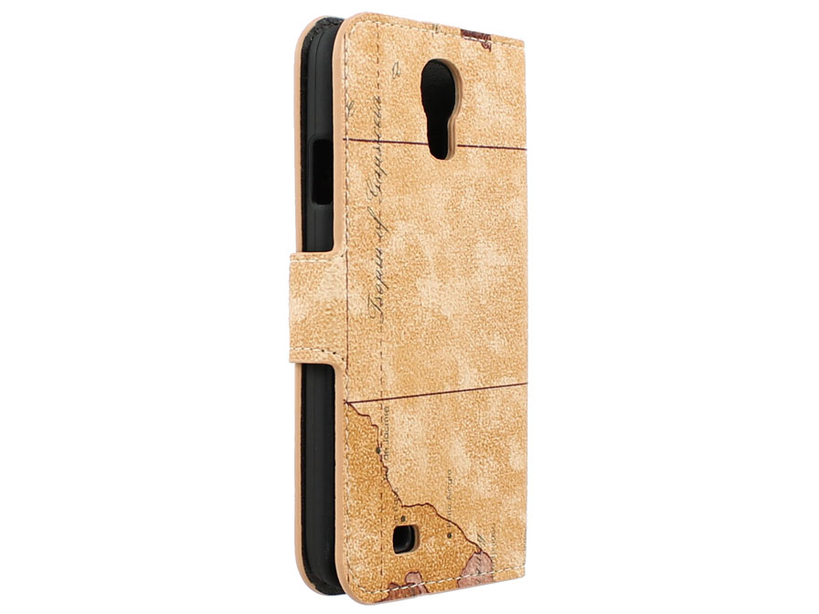 Antique Worldmap Wallet Case - Samsung Galaxy S4 hoesje