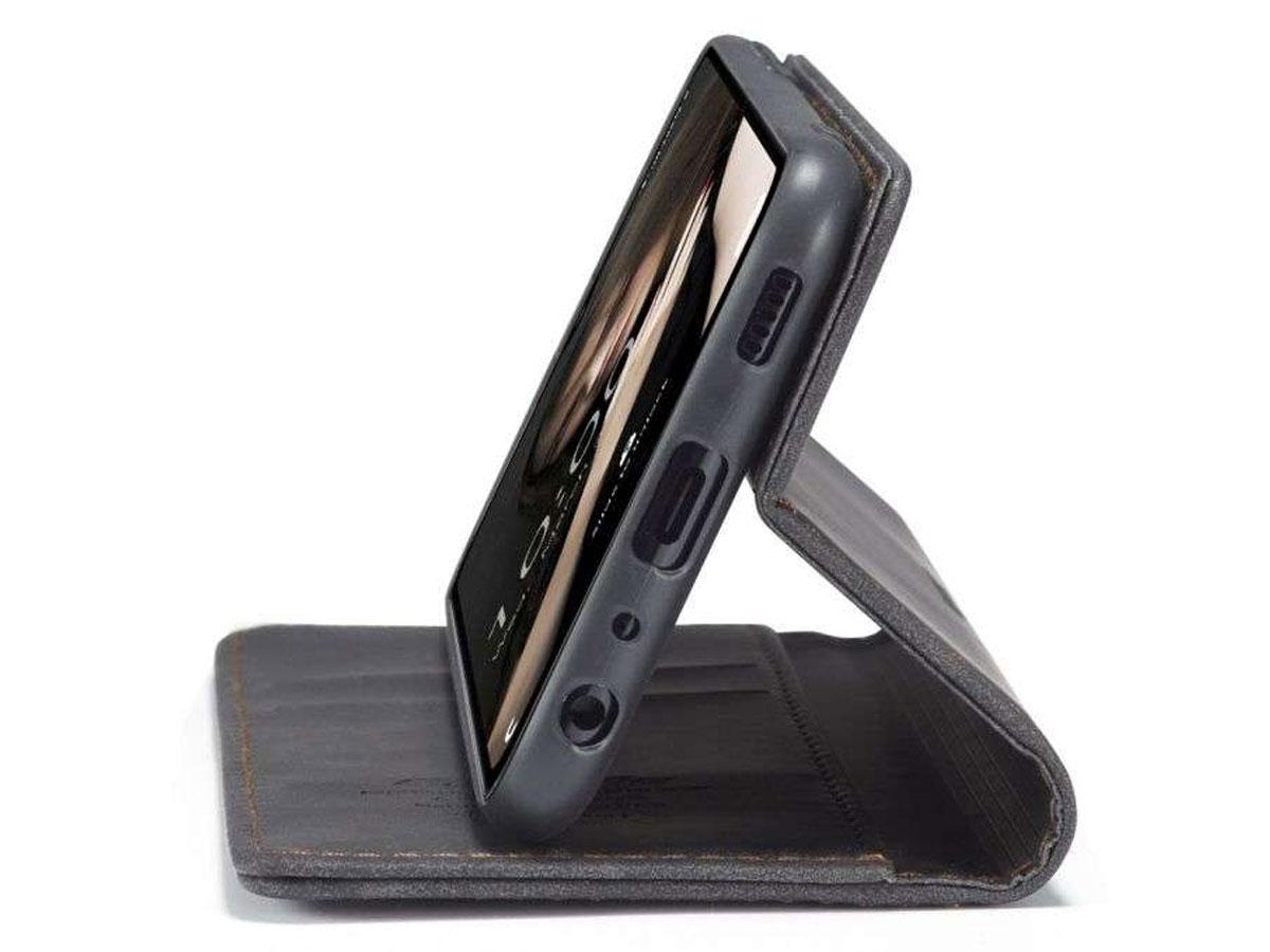 CaseMe Vintage BookCase Zwart - Samsung Galaxy A12 hoesje
