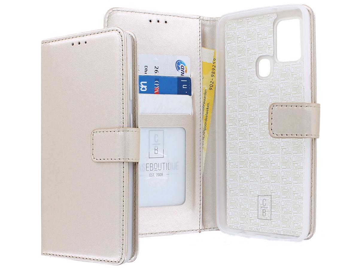 Bookcase Mapje Goud - Samsung Galaxy A21s hoesje
