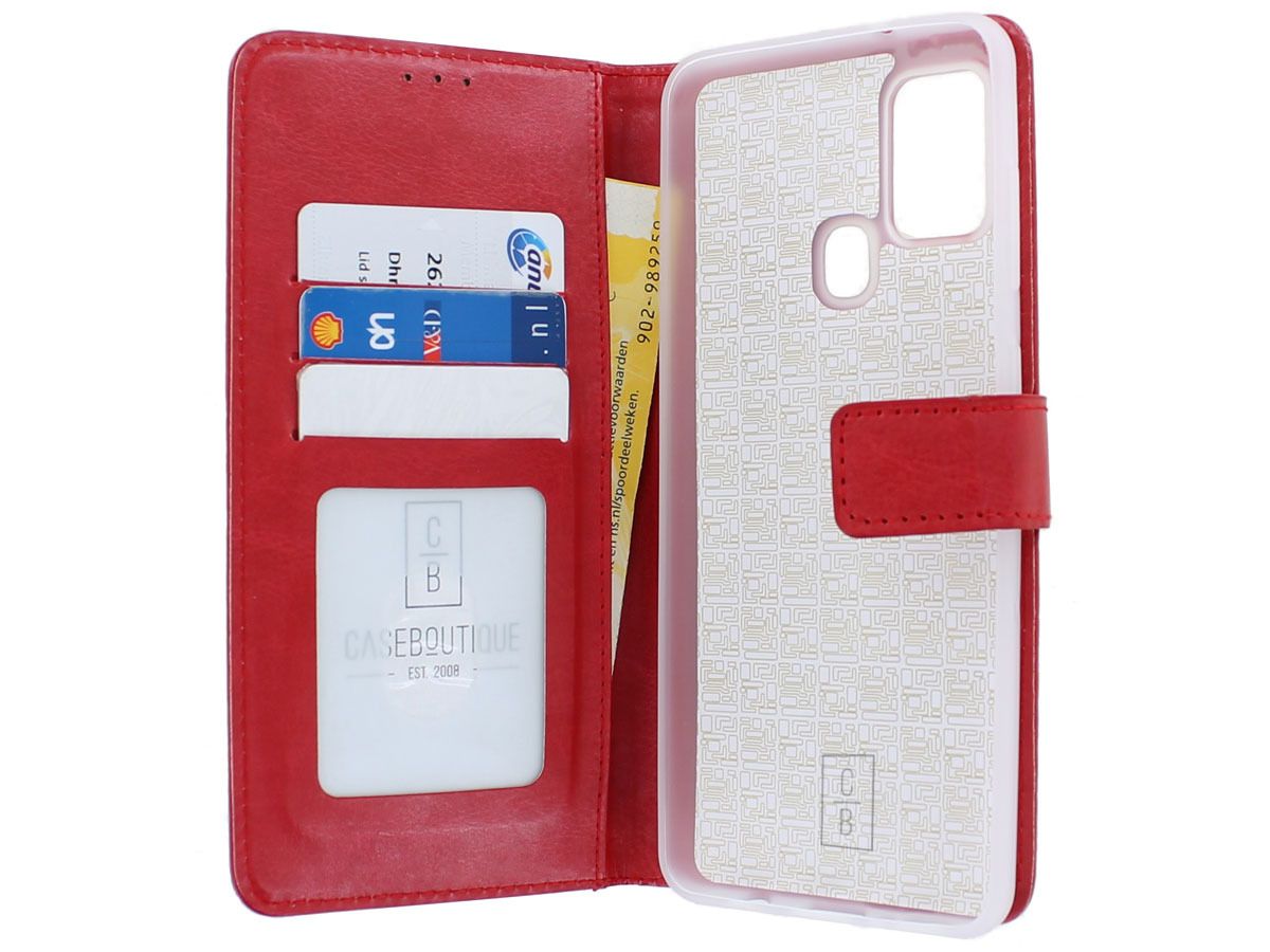 Bookcase Mapje Rood - Samsung Galaxy A21s hoesje