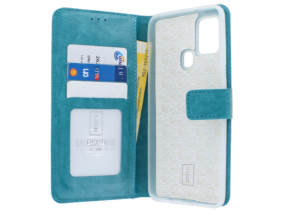 Bookcase Mapje Turquoise - Samsung Galaxy A21s hoesje
