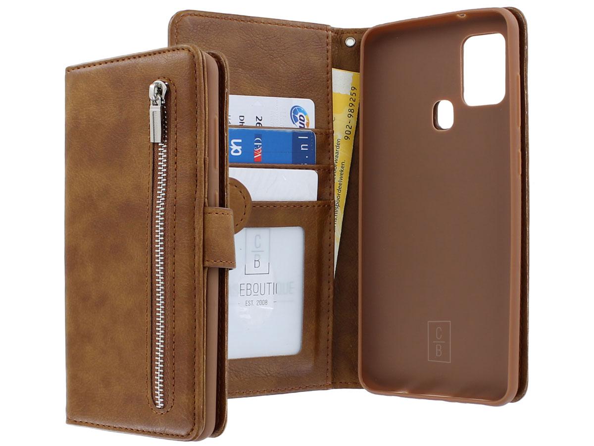 Book Case met Ritsvakje Bruin - Samsung Galaxy A21s hoesje
