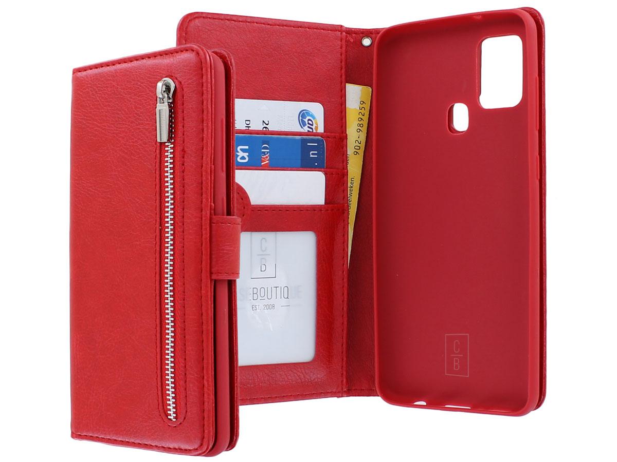 Book Case met Ritsvakje Rood - Samsung Galaxy A21s hoesje
