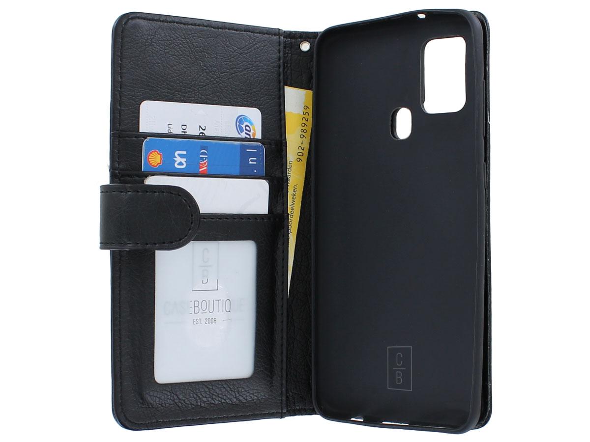 Book Case met Ritsvakje Zwart - Samsung Galaxy A21s hoesje