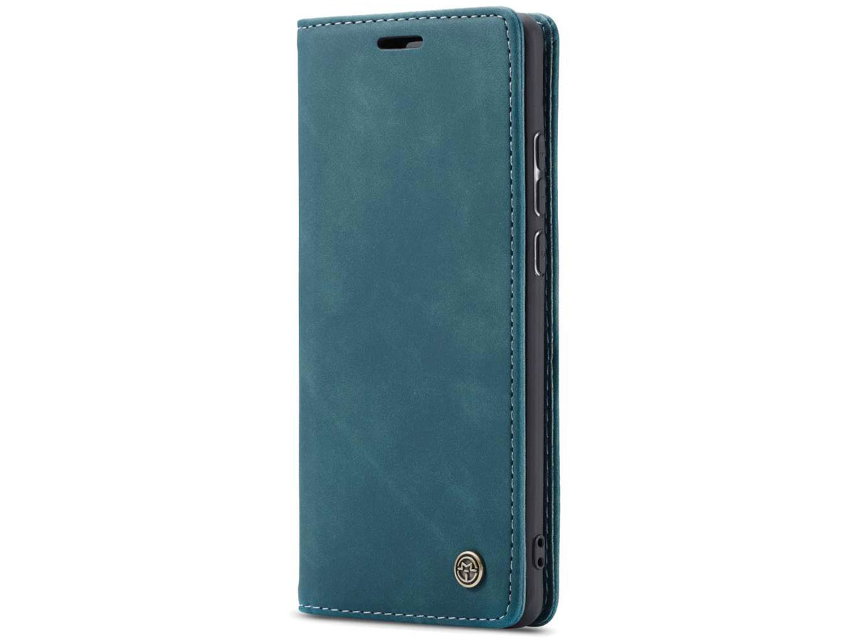 CaseMe Vintage BookCase Blauw - Samsung Galaxy A21s hoesje