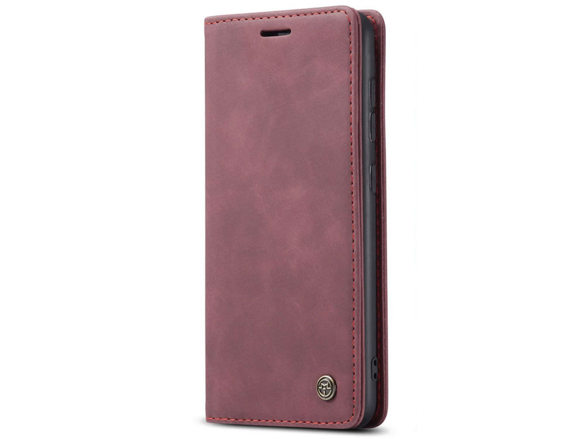 CaseMe Vintage BookCase Rood - Samsung Galaxy A21s hoesje