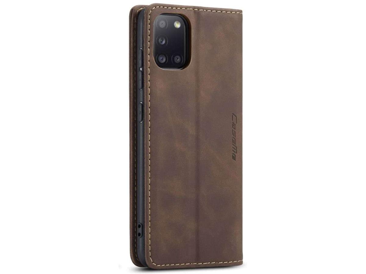 CaseMe Vintage BookCase Bruin - Samsung Galaxy A31 hoesje